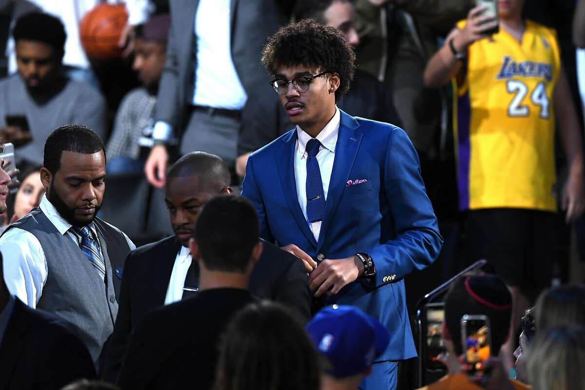 NEW YORK, NEW YORK - JUNE 20: Jordan Poole reacts after being drafted with the 28th overall pick by the Golden State Warriors during the 2019 NBA Draft at the Barclays Center on June 20, 2019 in the Brooklyn borough of New York City. NOTE TO USER: User expressly acknowledges and agrees that, by downloading and or using this photograph, User is consenting to the terms and conditions of the Getty Images License Agreement. (Photo by Sarah Stier/Getty Images)