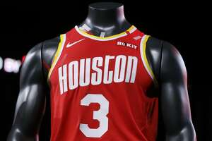 Uniforms for the 2019-2020 Houston Rockets are unveiled at the Toyota Center on Thursday, June 20, 2019, in Houston.
