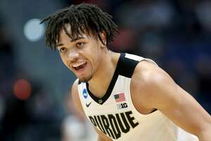 HARTFORD, CONNECTICUT - MARCH 23:  Carsen Edwards #3 of the Purdue Boilermakers celebrates his basket against the Villanova Wildcats in the first half during the second round of the 2019 NCAA Men's Basketball Tournament at XL Center on March 23, 2019 in Hartford, Connecticut. (Photo by Rob Carr/Getty Images)