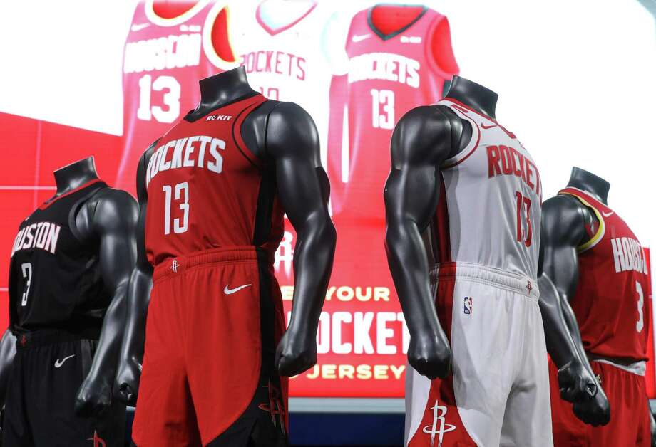 Rockets players will don five newly designed uniforms starting with the 2019-20 season. The new jerseys have been called Icon (red), Association (white), Classic, Statement (black) and City. Photo: Jon Shapley, Staff Photographer / Staff Photographer / © 2019 Houston Chronicle