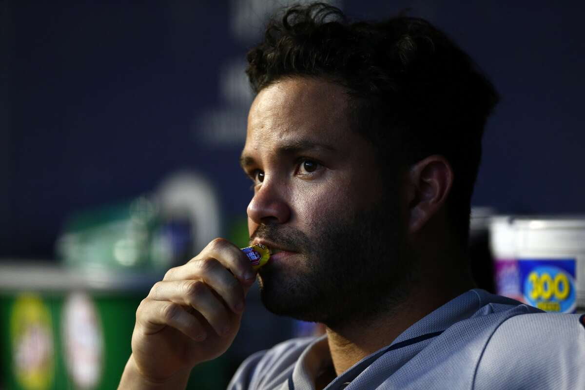 Houston Astros second baseman Jose Altuve looks on during the third inning of a baseball game against the New York Yankees on Thursday, June 20, 2019, in New York. (AP Photo/Adam Hunger)