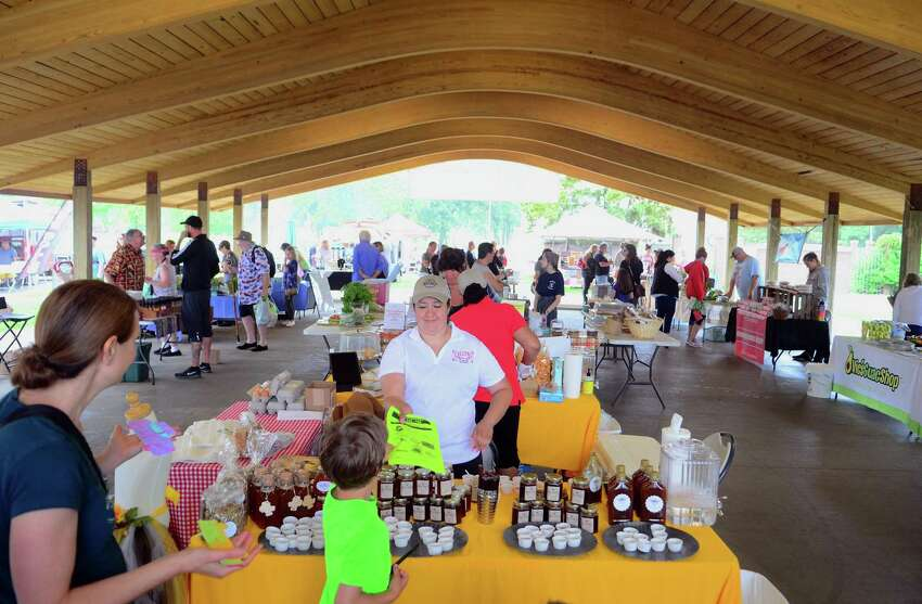 The opening day of the Walnut Beach Farmers' Market at the Walnut Beach pavilion in Milford, Conn., on Thursday June 20, 2019. The market will be held every Thursday until Sept. 12 from 4-7 p.m.