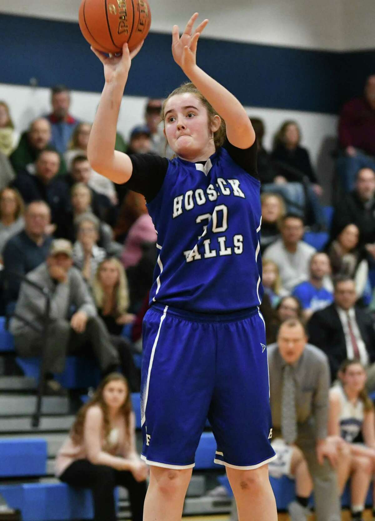 Hoosick Falls' Logan Thayne hits one from outside during a Class C girls' quarterfinal against Hoosic Valley on Wednesday, Feb. 20, 2019 in Schaghticoke, N.Y. (Lori Van Buren/Times Union)