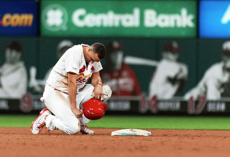 The Cardinals' Jack Flaherty kneels at second base after being picked off in the 11th inning to end Thursday night's game against the Miami Marlins at Busch Stadium. Miami won 7-6. Photo: L.G. Patterson | AP Photo