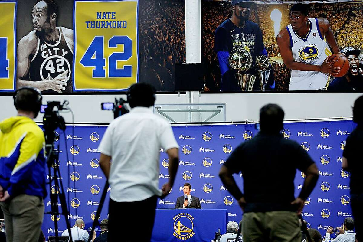 Golden State Warriors general manager Bob Myers addresses members of the news and sports media during the Warriors Draft Night Media event at the Rakuten Performance Center on Thursday, June 20, 2019, in Oakland, Calif. The Warriors selected Jordan Poole (Round 1, Pick 28), Alen Smailagic (Round 2, Pick 39), Eric Paschall (Round 2, Pick 41) and Miye Oni (Round 2, Pick 58).
