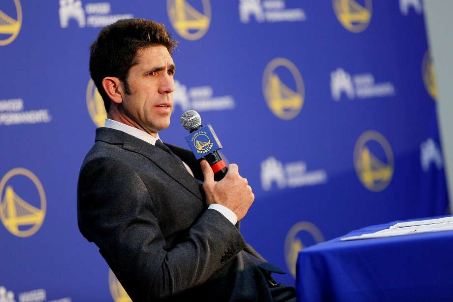 Golden State Warriors general manager Bob Myers addresses members of the news and sports media during the Warriors Draft Night Media event at the Rakuten Performance Center on Thursday, June 20, 2019, in Oakland, Calif. The Warriors selected Jordan Poole (Round 1, Pick 28), Alen Smailagic (Round 2, Pick 39), Eric Paschall (Round 2, Pick 41) and Miye Oni (Round 2, Pick 58). Photo: Santiago Mejia / The Chronicle