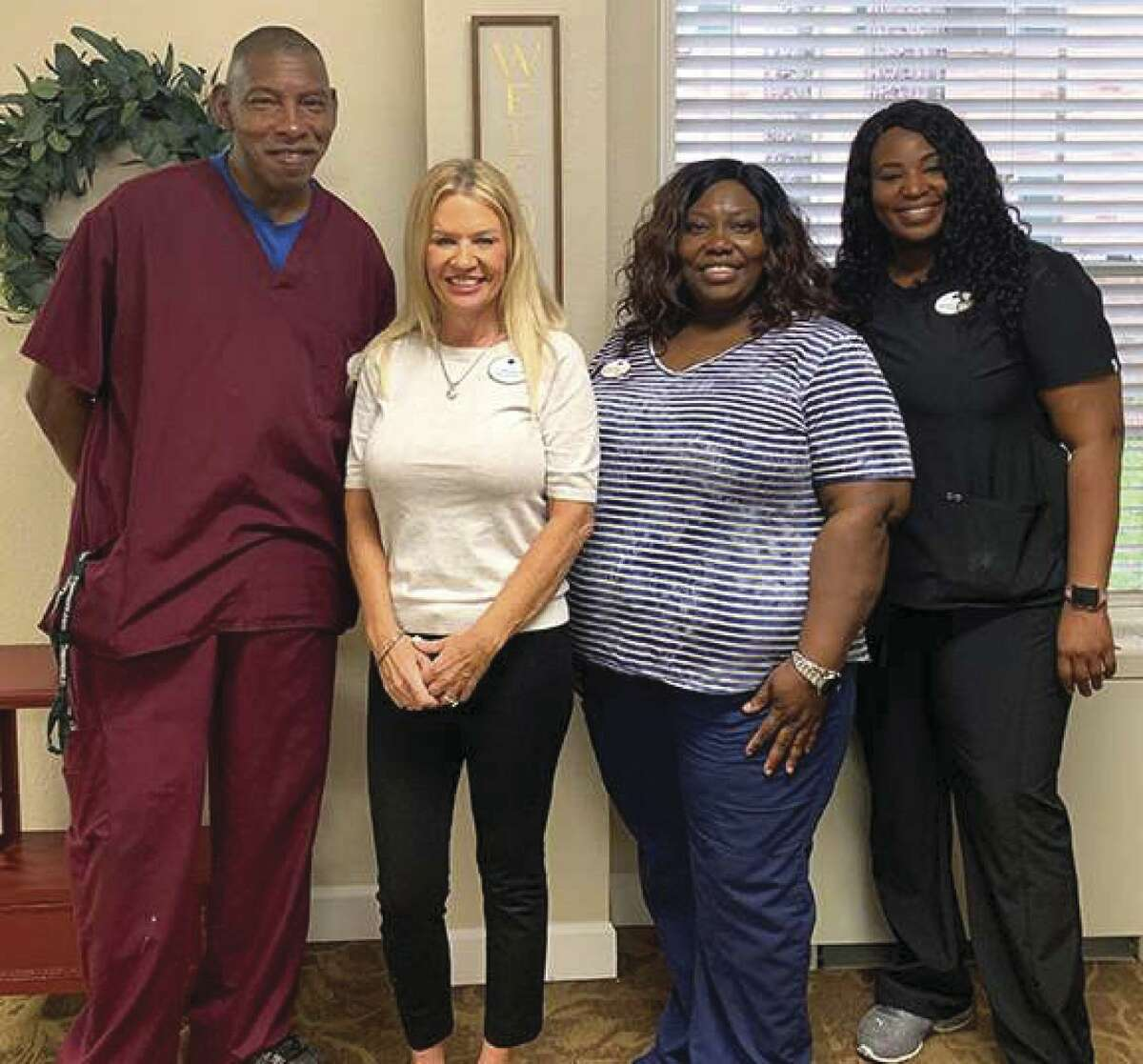 It takes an entire nursing team to provide top quality care. Here are but four of the key Treemont staff who contributed to the successful annual Treemont survey: Medication Technician Steven Gardner, Admnistrator Cynthia Lamison, DON Sheree Wade and ADON Simone Johnson.