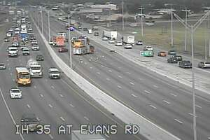 The southbound lanes of I-35 near Evans Road is shut down while crews respond to a wreck.