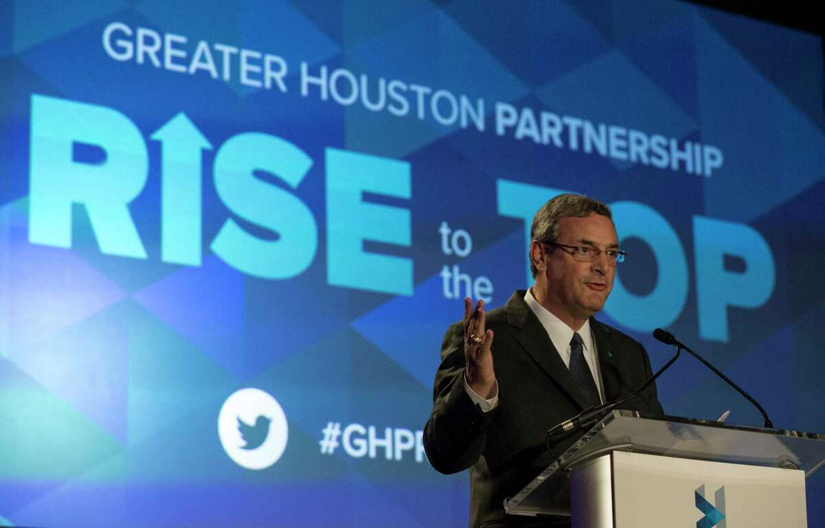Greater Houston Partnership President and CEO Bob Harvey speaks at a past Women's Business Alliance Rise to the Top luncheon. This year, the 10th annual event will be held online Friday.