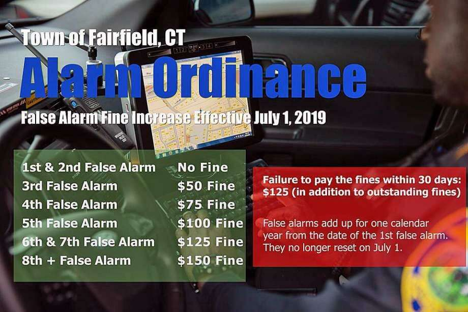 Fairfield police will increase fines for false alarms on July 1, 2019. Photo: Contributed Photo / Fairfield Police Department