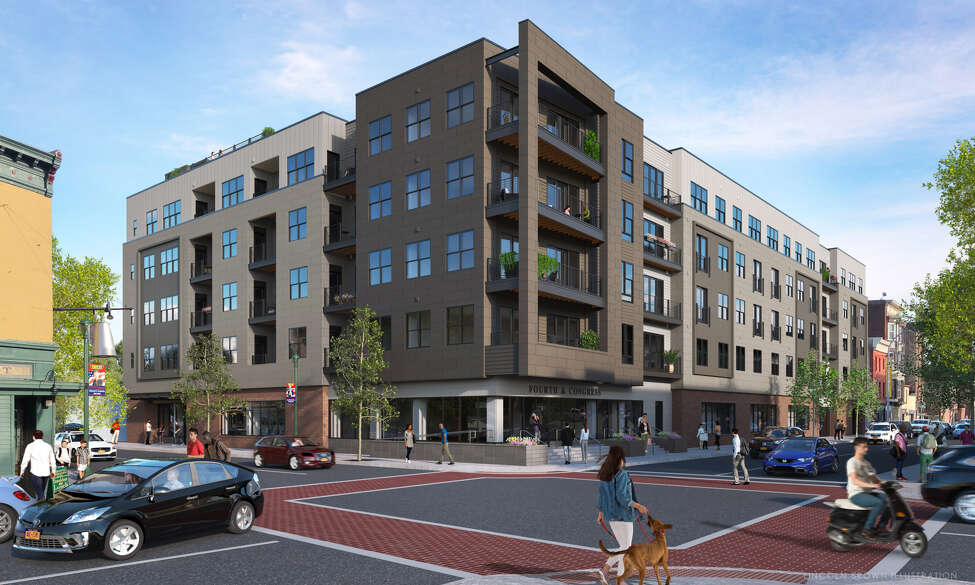 The Rosenblum Cos. has broken ground on its $18 million, mixed-use building at Congress and Fourth streets. Company officials also unveiled the name for the five-story building: Vicina - Modern Urban Flats.