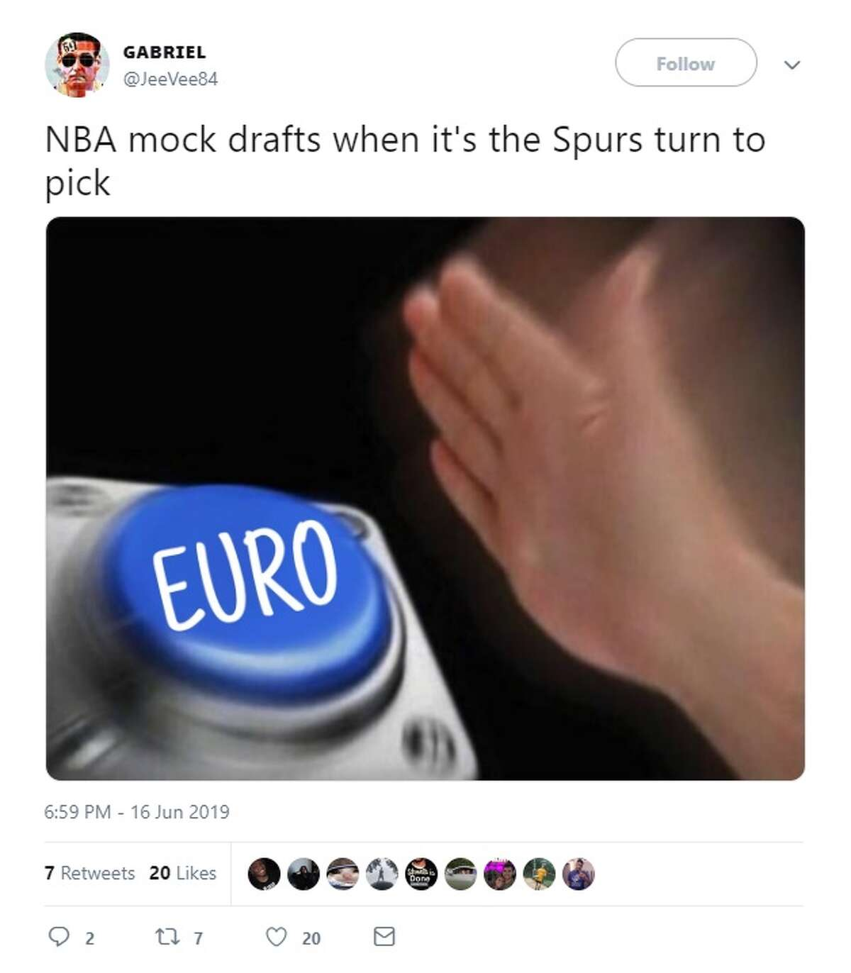 @JeeVee84 tweeted about the Spurs draft picks during the 2019 NBA Draft Thursday.