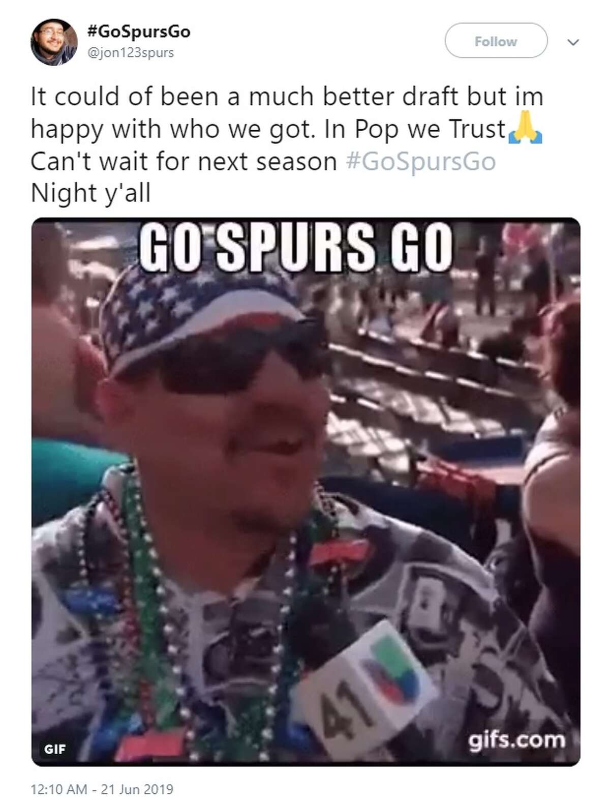 @jon123spurs tweeted about the Spurs draft picks during the 2019 NBA Draft Thursday.