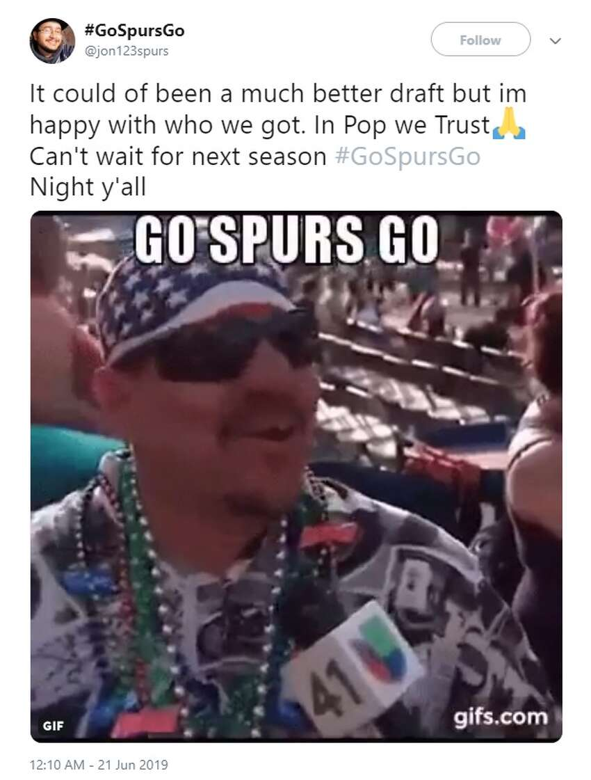 @jon123spurstweeted about the Spurs draft picks during the 2019 NBA Draft Thursday.