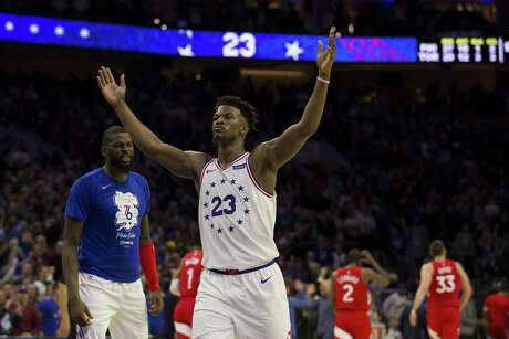 PHILADELPHIA, PA - MAY 09: Jimmy Butler #23 of the Philadelphia 76ers reacts at the end of the second quarter of Game Six of the Eastern Conference Semifinals against the Toronto Raptors at the Wells Fargo Center on May 9, 2019 in Philadelphia, Pennsylvania. NOTE TO USER: User expressly acknowledges and agrees that, by downloading and or using this photograph, User is consenting to the terms and conditions of the Getty Images License Agreement.