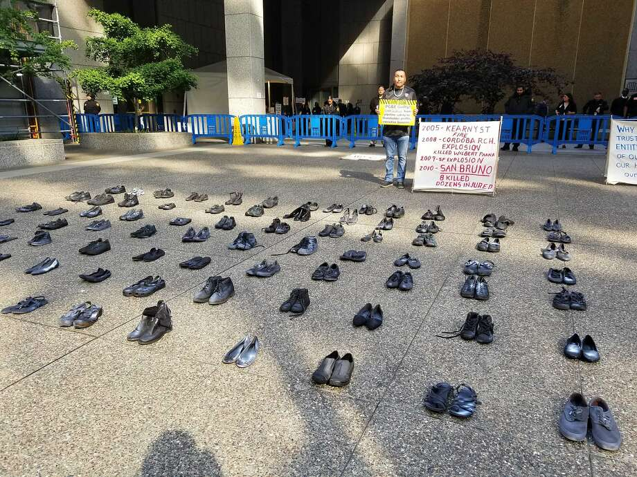 Here's why there are 85 pairs of shoes outside a building in downtown San Francisco