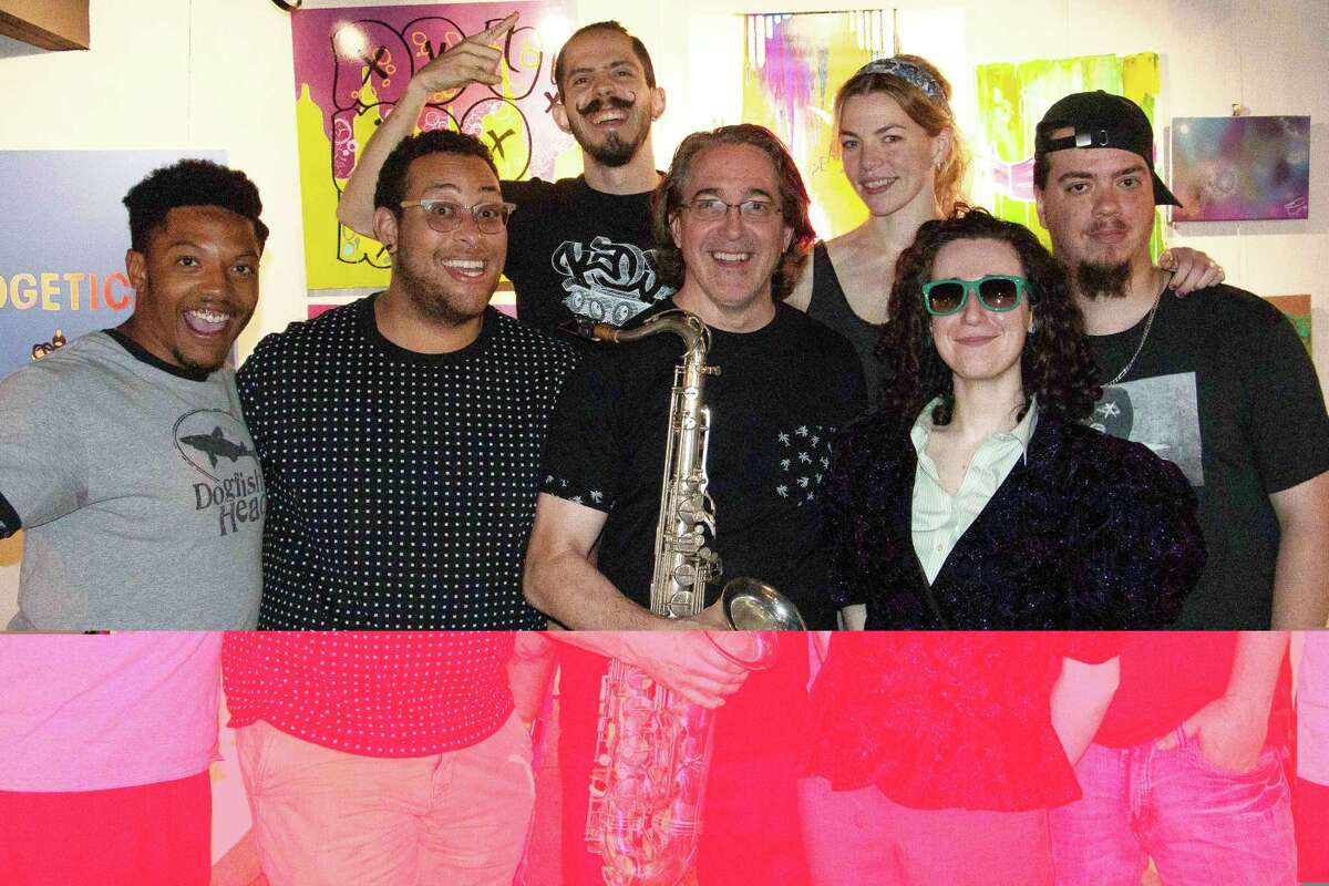 Sharing creative forces at the Mad Lab in Norwalk on Friday, June 28, will be Amir Hines, Jesse Bowie, Weverson Ponte, Jim Clark (with saxophone), Jessica Ortega, Hal 6000, and Dan Wilson (pictured left-right).