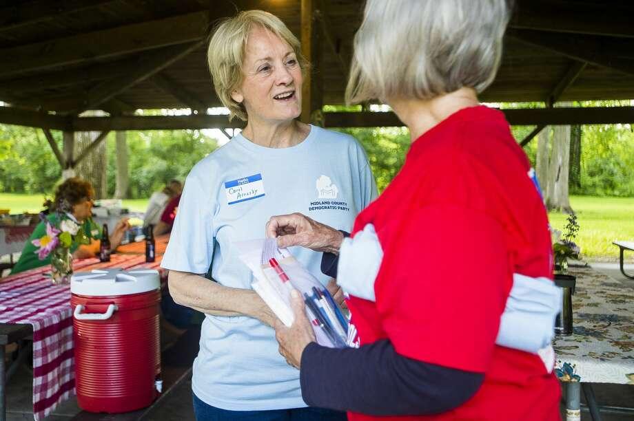Members of the Midland County Democratic Party host a picnic on Thursday, Friday 20, 2019 in Emerson Park. (Katy Kildee/kkildee@mdn.net) Photo: (Katy Kildee/kkildee@mdn.net)
