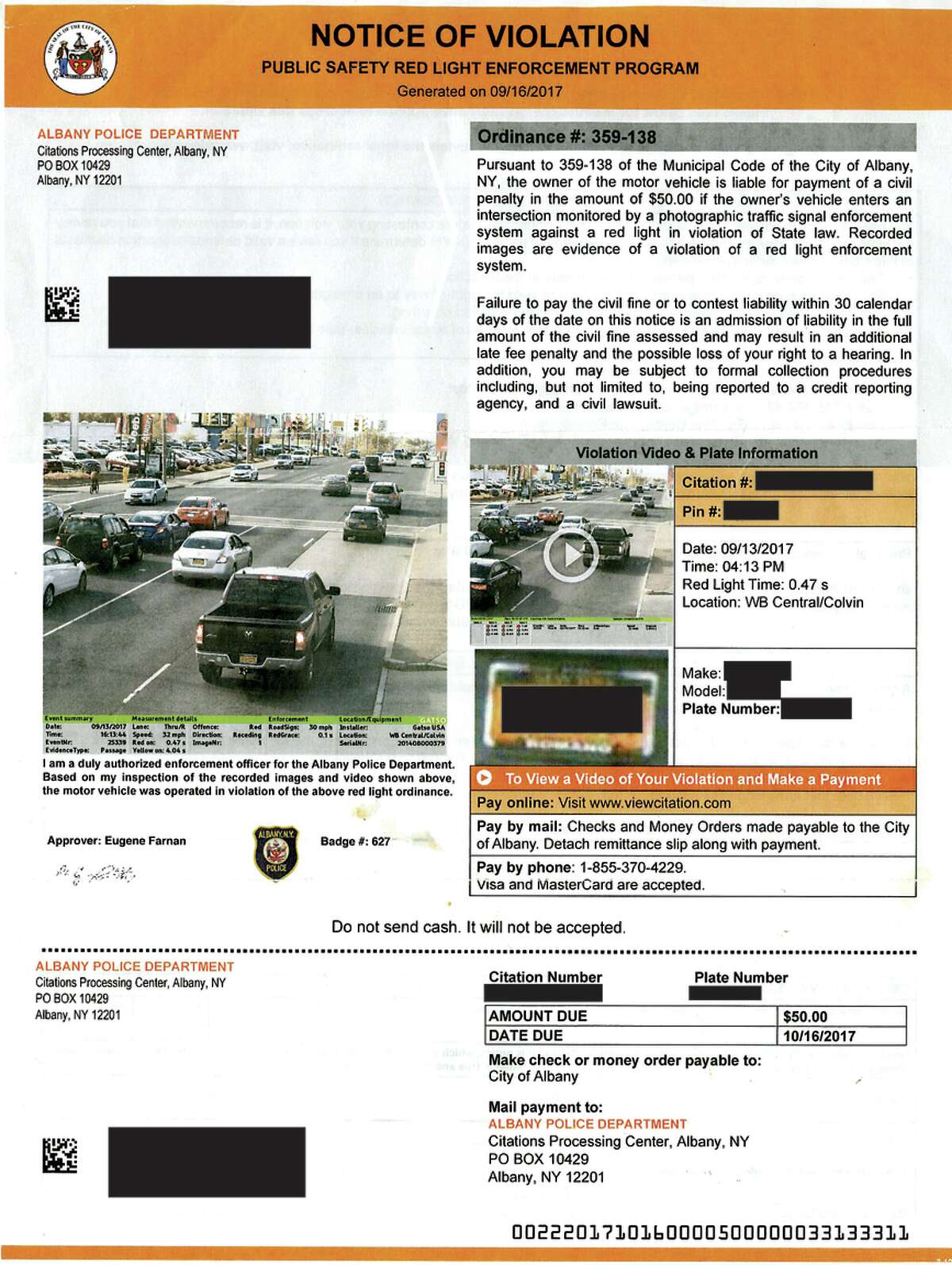 This violation ticket shows a Toyota Prius running a red light at Central and Colvin Avenues in Albany in September 2017. (Courtesy of Amanda Fries)