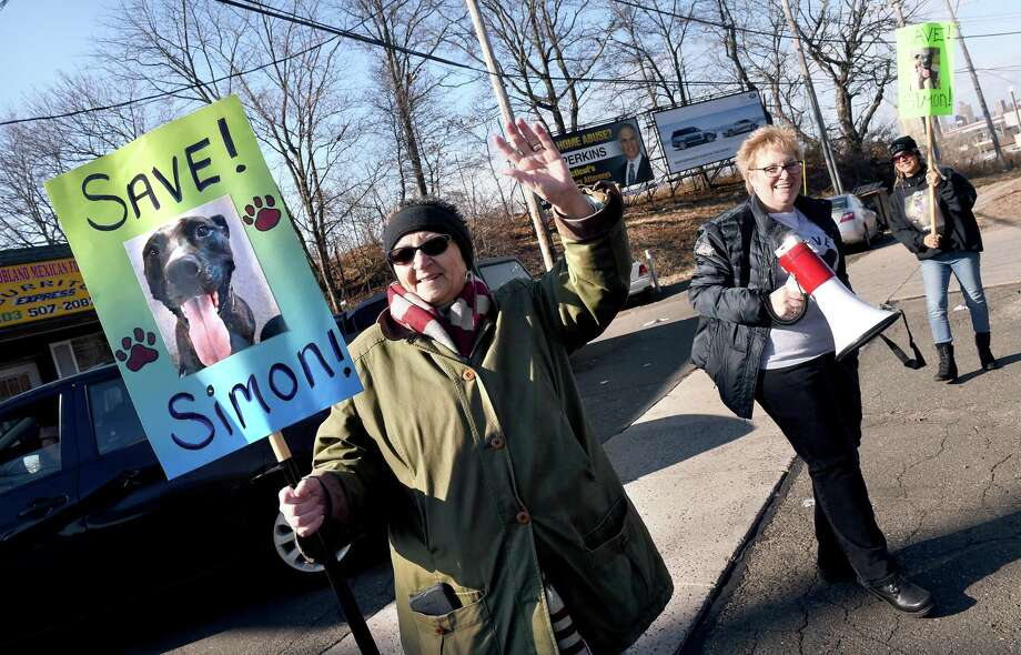 From left, Ann Ruggiero, Mary Letis and Cindy Vaporis carry signs during a fundraiser for legal and advertising costs for Dr. David Young's dog, Simon, at Frisco's Pizza in New Haven  Jan. 27, 2019. Simon was to be euthanized after biting a trespasser but now will be moved to Michigan instead. Photo: Arnold Gold / Hearst Connecticut Media / New Haven Register