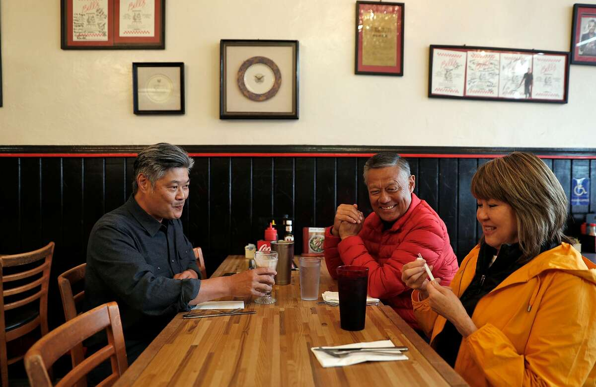 New San Francisco Chamber of Commerce President and CEO, Rodney Fong, left, grabs lunch with his mom and dad, Bev and Ron Fong at Bill's Place in San Francisco, Calif., on Wednesday, May 15, 2019.