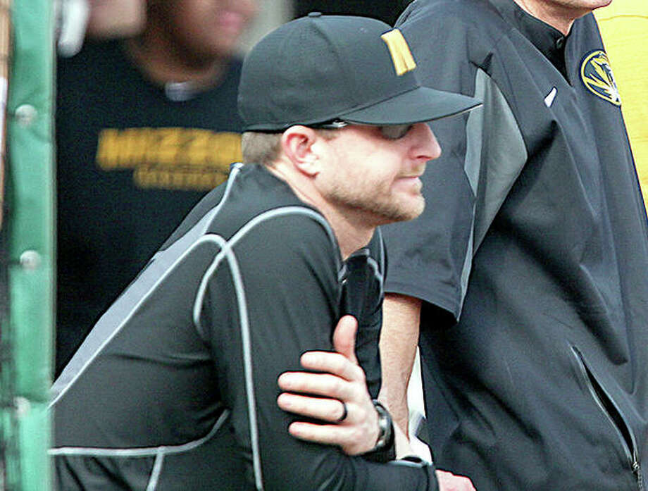 Former Missouri assistant coach Lance Rhodes has been named as the new head baseball coach at SIUC. He is shown in the Mizzou dugout last season. Photo: Mizzou Athletics