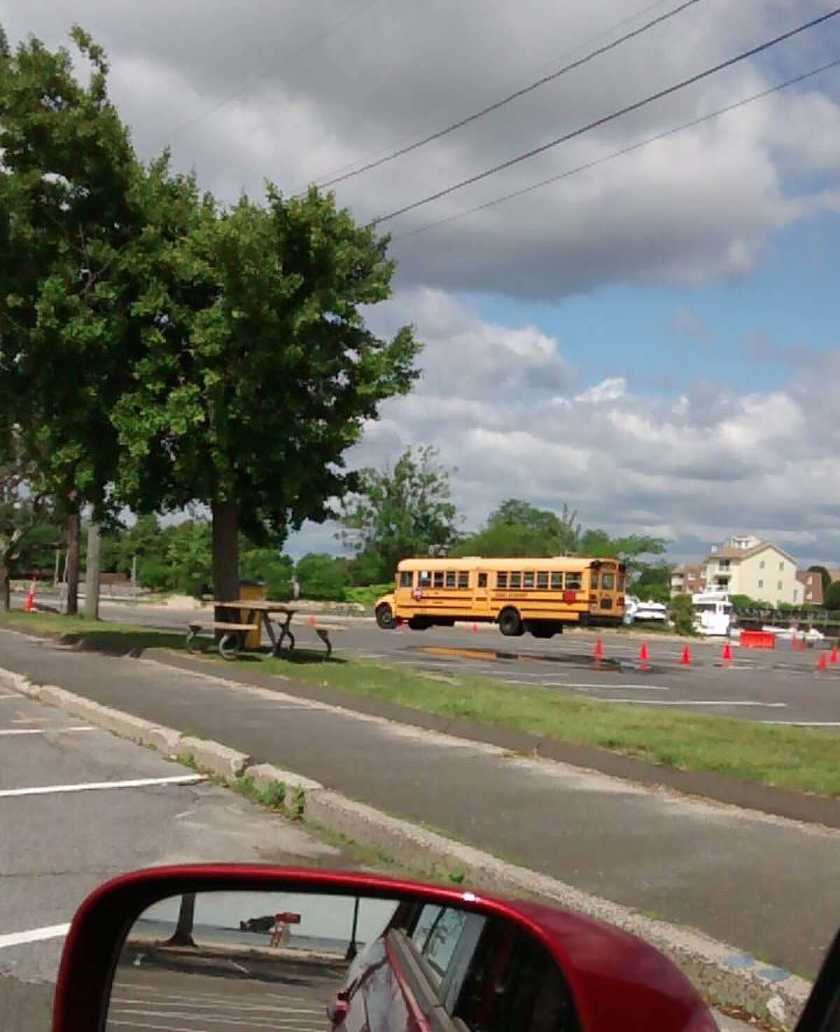 A school bus in the parking lot at Cummings Beach.