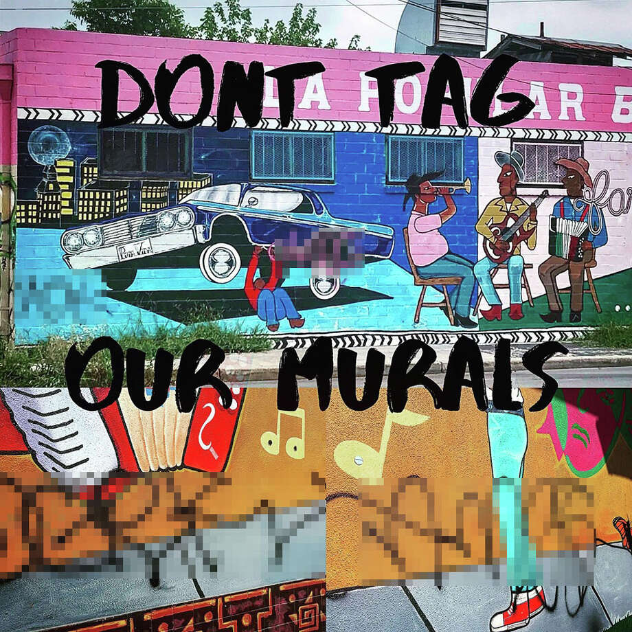 Two murals off South Brazos — one at The Guadalupe and another at La Popular Bakery — were hit by taggers, San Anto Cultural Arts Mural Coordinator Victor Zarazua told mySA.com. Photo: Courtesy, Yadhira Lozano