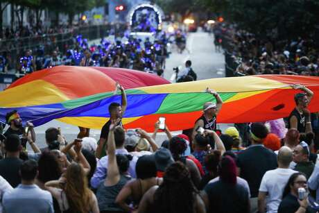 Thousands of people fill downtown for the 40th annual Pride Houston festival and parade Saturday, June 23, 2018.