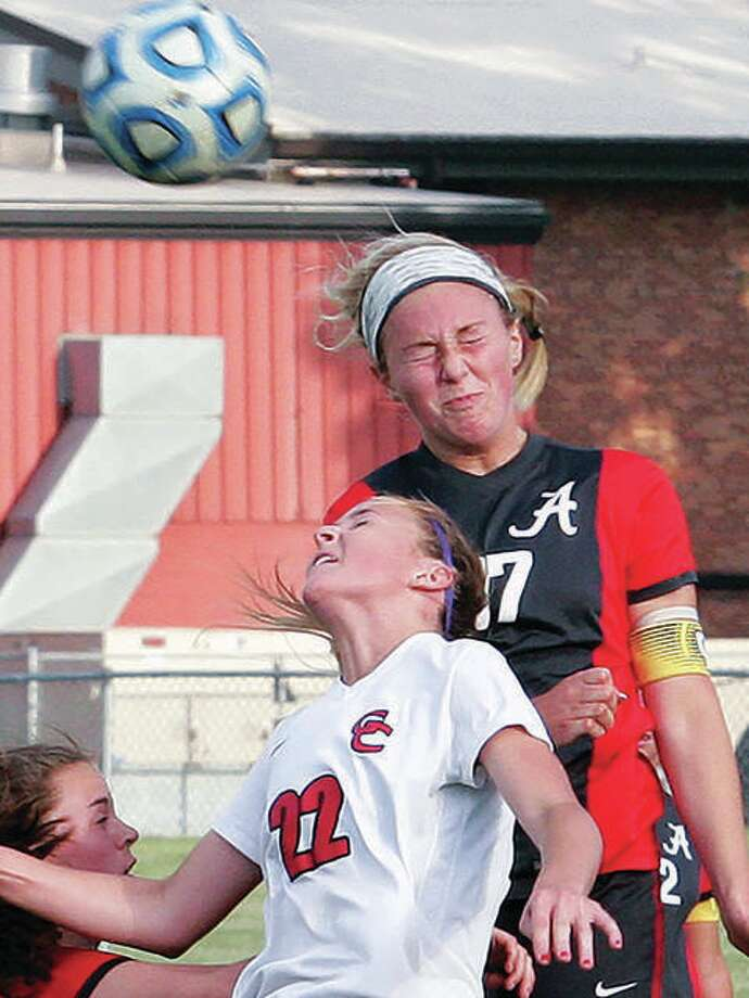 Annie Evans, right, a 2017 Alton High graduate, will be among the alumni to play in the Alton Girls Soccer Alumni Game at 2:30 p.m. Saturday at Alton High School. She is shown playing against Granite City in a 2017 game. Photo: Telegraph File Photo