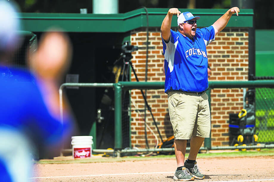 Coleman coach Chad Klopf gives instructions to a baserunner during a Division 4 state semifinal vs. Kalamazoo Christian earlier this year. Photo: Daily News File Photo
