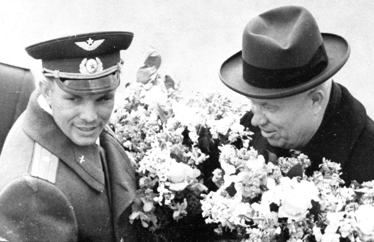 In this April 14, 1961 picture, Soviet leader Nikita Khrushchev greets cosmonaut Maj. Yuri Gagarin at the Vnukovo airport in Moscow. It was the Soviet Union's own giant leap for mankind - one that would spur a humiliated America to race for the moon. It happened on Tuesday, April 12, 1961 when the air force pilot became the first human in space.