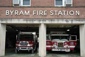Fire trucks are parked inside the Byram Volunteer Fire Department in the Byram section of Greenwich, Conn. Thursday, Jan. 12, 2017. The building has been in need of repairs for years and funding for it will again be considered in July as money is set aside but needs to be approved.
