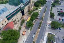 The redesigned Frio Street at the UTSA downtown campus, seen in a 2019 aerial image. All of the university's summer session will be taught online this year.