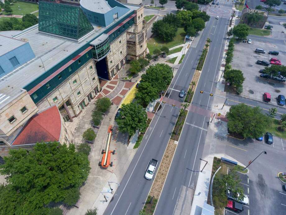The UTSA downtown campus is seen in an aerial image from last year. The university has invited its higher-performing seniors to take advantage of automatic acceptance to its graduate programs. Photo: William Luther /Staff Photographer / ©2019 San Antonio Express-News
