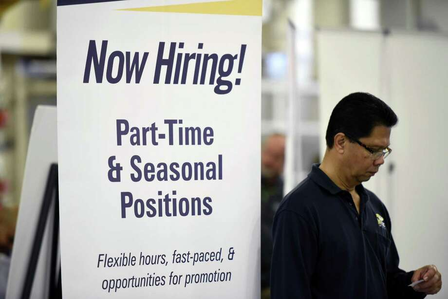 A company advertises during a military job fair in 2016. A better route for unemployed and underemployed military spouses is entrepreneurship. Photo: San Francisco Chronicle File Photo / Michael Short 2016
