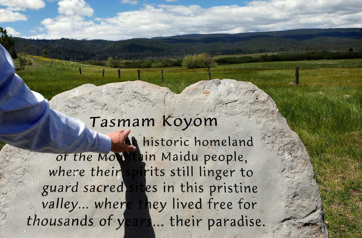 Ken Holbrook, the director of the Maidu Summit Consortium with a monument in the T�smam K�jom Valley near Chester, Ca., on Tuesday May 28, 2019. The Mountain Maidu Tribe is preparing to reclaim the land of their ancestors.