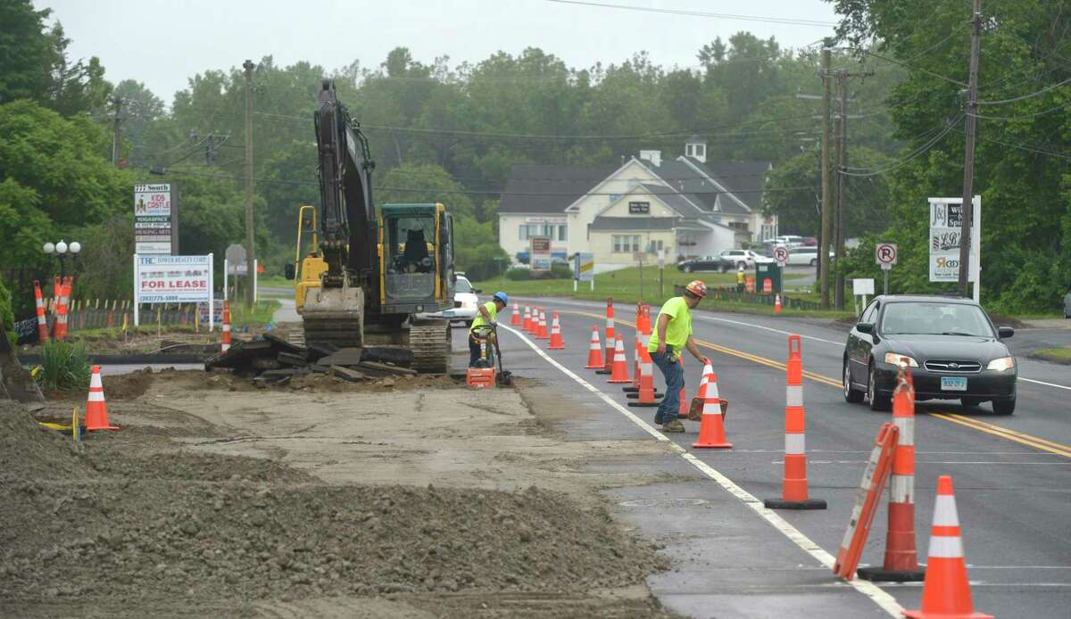 Construction has started on the second phase of Brookfield's streetscape project. Thursday, June 20, 2019, in Brookfield, Conn.