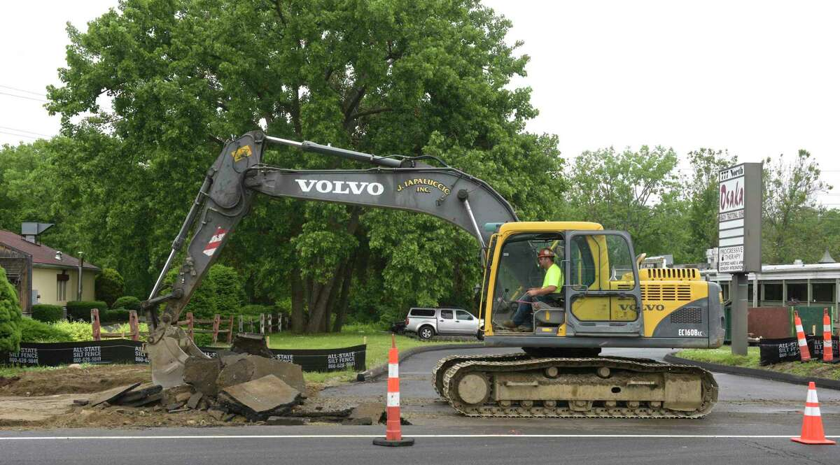 Construction has began on the second phase of Brookfield's streetscape project. Thursday, June 20, 2019, in Brookfield, Conn.