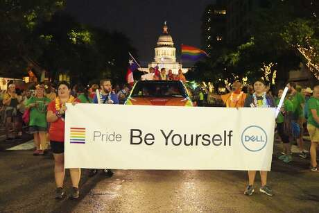 Dell Technologies' employees march at the 2018 Pride Parade in Austin.