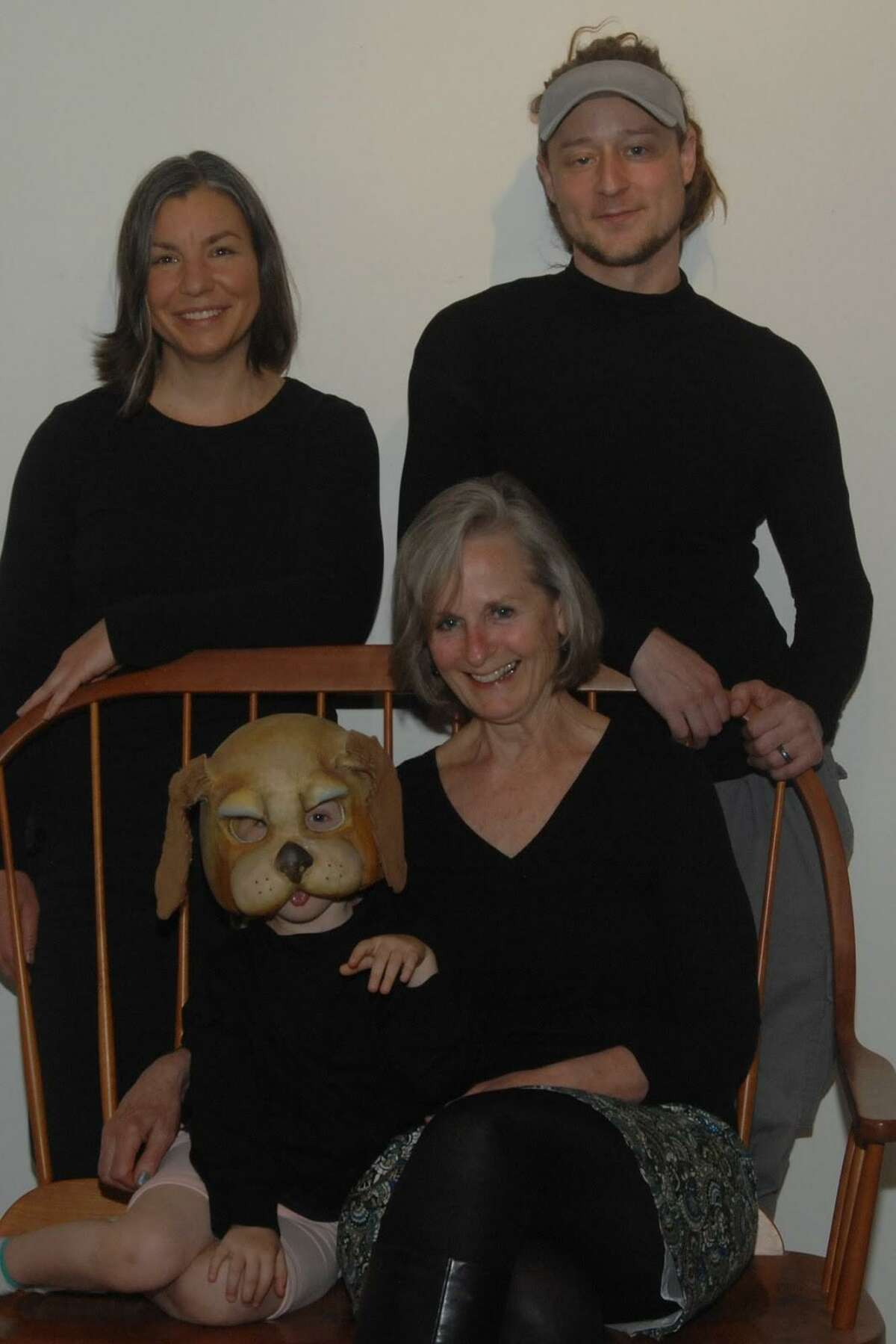 Adelka Polak, Alex Hunt, Puppy Nora Hunt and Jen Hunt, members of the Masque Family Theater.