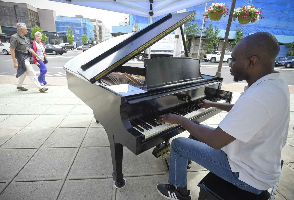 Jazz Pianist Garnet Walters performs a musical selection during Stamford's Make Music Day on June 21, 2019. Make Music is a free celebration of music from around the world in more than 1,000 cities in 120 countries.