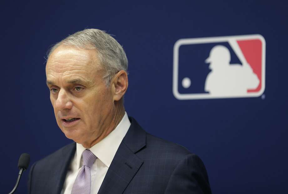 Major League Baseball commissioner Rob Manfred speaks to reporters after a meeting of baseball team owners in New York, Thursday, June 20, 2019. The Tampa Bay Rays have received permission from Major League Baseball's executive council to explore a plan that could see the team split its home games between the Tampa Bay area and Montreal, reports said Thursday. (AP Photo/Seth Wenig) Photo: Seth Wenig, Associated Press