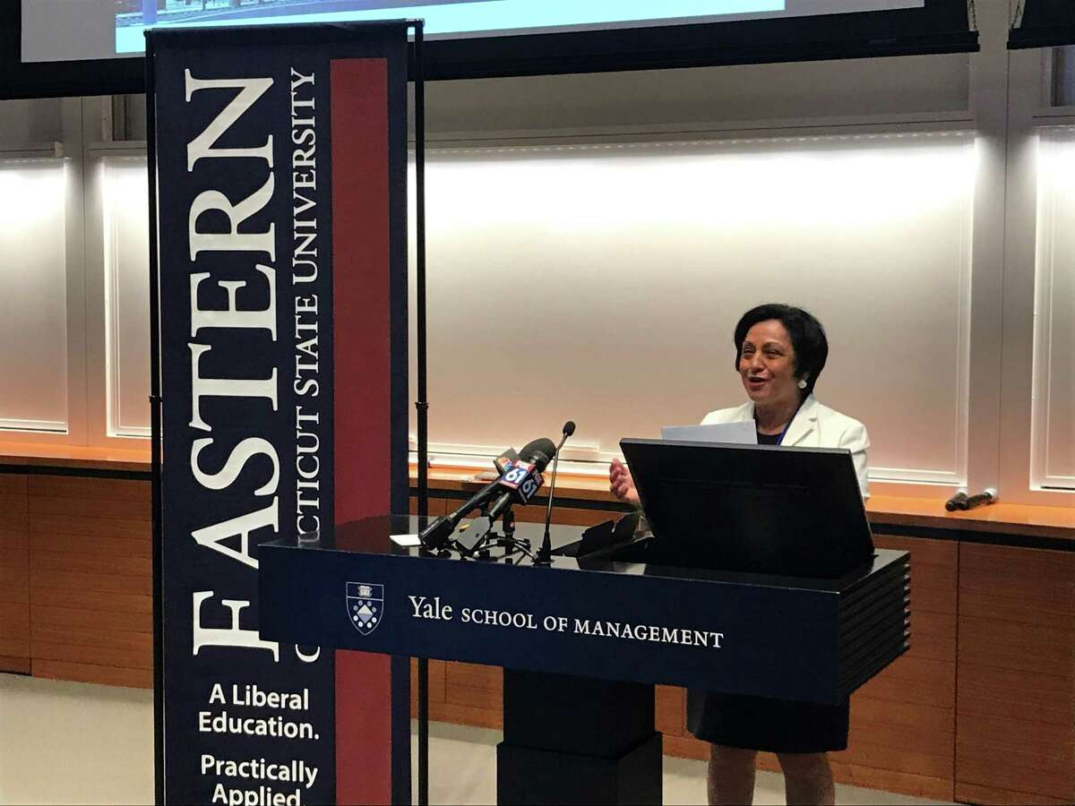 Eastern Connecticut State University President Elsa Nunez announces an expanded partnership with the New Haven Promise program on June 21, 2019.