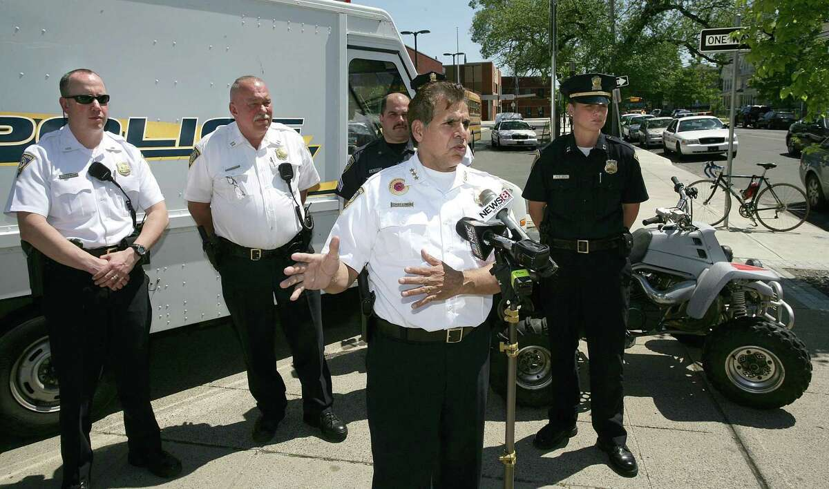 Then New Haven police Chief Frank Limon talked about the police force's new initiative to curb unregistered motor vehicles from riding on the city streets in May 2010.
