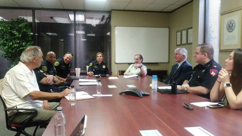 The Houston Northwest Chamber of Commerce hosted their latest safety and security task force meeting on June 21, 2019, discussing burglary of motor vehicles and more, including (Left to Right) K.D. Stringfellow, Capt. Steve Spears and Bridget Lummus with Houston Police Department and Larry Lipton with HNWCC. Photo: Chevall Pryce