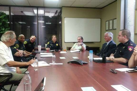 The Houston Northwest Chamber of Commerce hosted their latest safety and security task force meeting on June 21, 2019, discussing burglary of motor vehicles and more, including (Left to Right) K.D. Stringfellow, Capt. Steve Spears and Bridget Lummus with Houston Police Department and Larry Lipton with HNWCC.