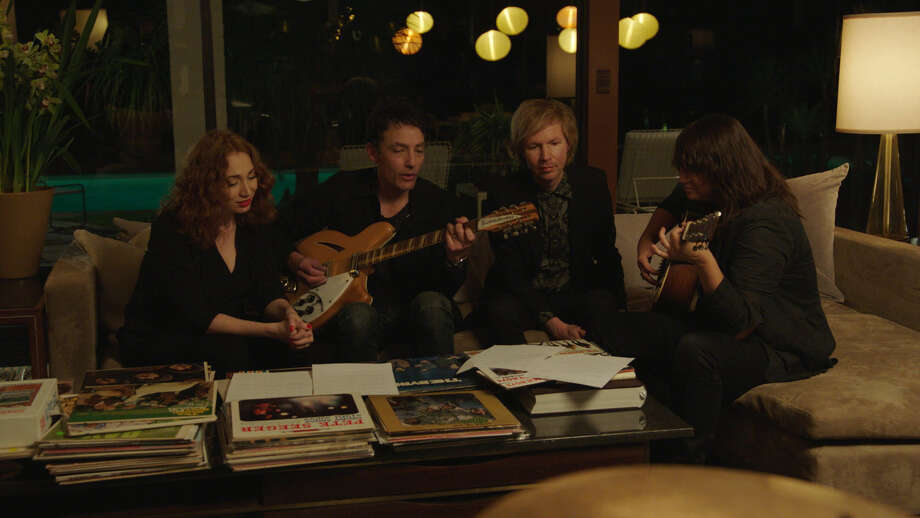 """From left: Regina Spektor, Jakob Dylan, Beck and Cat Power in a scene from """"Echo in the Canyon."""" MUST CREDIT: Photo courtesy of Greenwich Entertainment Photo: Greenwich Entertainment / Handout"""