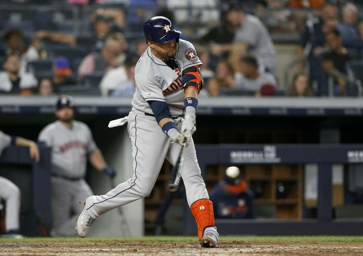 NEW YORK, NEW YORK - JUNE 21: Yuli Gurriel #10 of the Houston Astros connects on a double in the sixth inning against the New York Yankees at Yankee Stadium on June 21, 2019 in New York City. (Photo by Jim McIsaac/Getty Images)