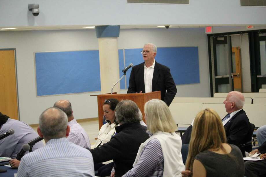 CMS Building Committee Chairman Don O'Day speaks before the first selectman, members of the Boards of Education and Finance, as well as members fo the Representative Town Meeting. Taken June 20, 2019 in Westport, CT. Photo: Lynandro Simmons/Hearst Connecticut Media